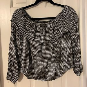 Black and white gingham off the shoulder shirt!